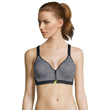 MF SPORT SECURE ZIP FRONT BRA CHARCOAL