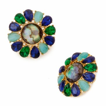 Kate Spade Gold Tone 'Peacock Way' Stud Earrings