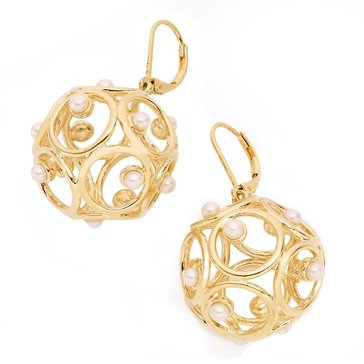 Kate Spade Gold Tone 'Brilliant Bauble' Cream Earrings