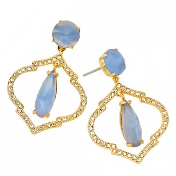 Kate Spade Gold Tone 'Lantern Gems' Blue Drop Earrings