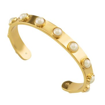 Kate Spade Gold Tone 'Tag Along' Cream Studded Cuff Rp17