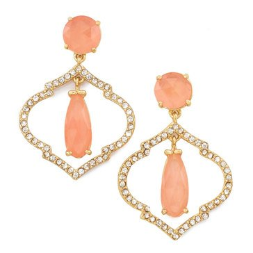 Kate Spade Gold Tone 'Lantern Gems' Cherry Quartz Drop Earrings