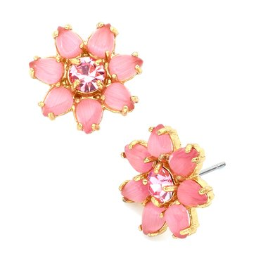 Kate Spade Gold Tone 'Brilliant Bouquet' Pink Stud Earrings