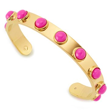 Kate Spade Gold Tone 'Tag Along' Pink Studded Cuff Rp17