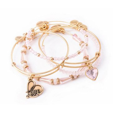 Alex And Ani Love Is In The Air Alive With Love 5 Piece Bangle Set Gold Tone