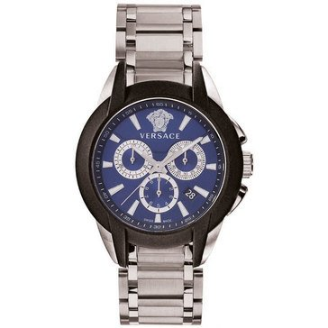 Versace Men's Character Chronograph Blue Dial Stainless Steel Bracelet Watch 42.5mm