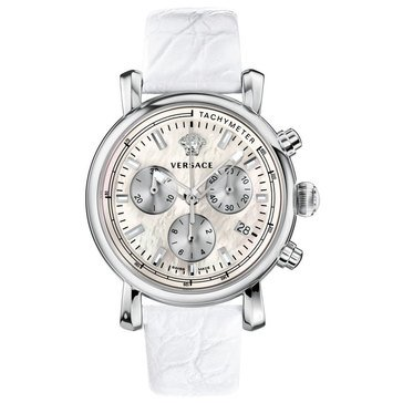 Versace Women's Day Glam Stainless Steel White Band Watch 38mm