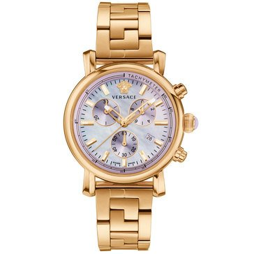Versace Women's Day Glam Gold Ion-Plated Stainless Steel Purple Dial Bracelet Watch 38mm
