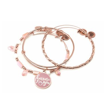 Alex And Ani Because I Love You 3 Piece Bangle Set Rose Gold Tone