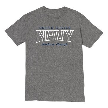The Game Men's U.S. Navy Anchors Aweigh White Cap Heather Tee