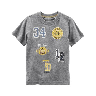 Carter's Toddler Boys' Athletic Patch Tee, Grey