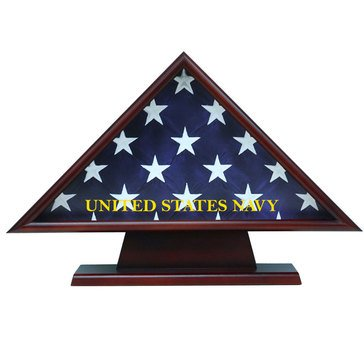 USN Casket Flag Triangle Pedestal Brass Engraving Plate Fits 5x9 Flag, Cherry