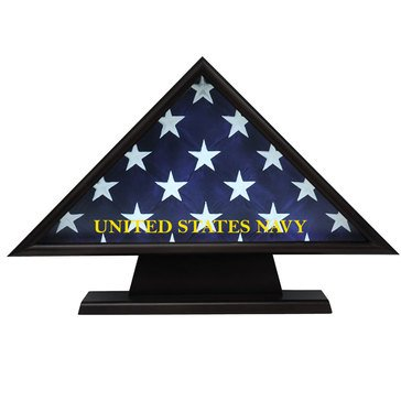 USN Casket Flag Triangle Pedestal Brass Engraving Plate Fits 5x9 Flag, Black
