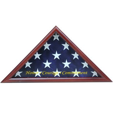 Ceremonial Flag Triangle Honor Courage Commitment Fits 3x5 Flag, Cherry