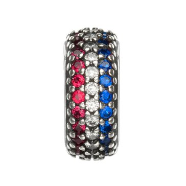 Nomades Patriotic, Navy White & Red Pave Spacer