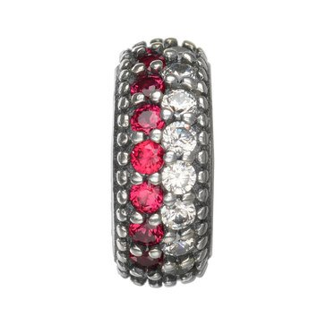 Nomades Red & White Striped Pave Spacer