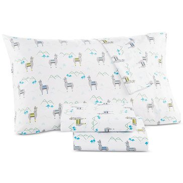 Martha Stewart Whim Collection 200 Thread-Count Sheet Set, Llama - Twin
