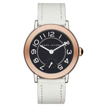 Marc Jacobs Riley Black Dial Rose Gold White Leather Watch 36mm