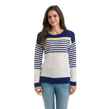 Vineyard Vines Stripe Pullover Sweater in Merini Ivory/ Royal