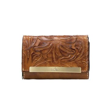Patricia Nash New Burnished Tooled Cametti Wallet Gold