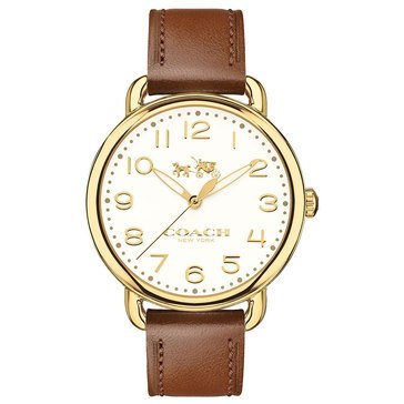 Coach Women's Delancey Watch, Gold Plated/ Chalk/ Saddle Leather 36mm