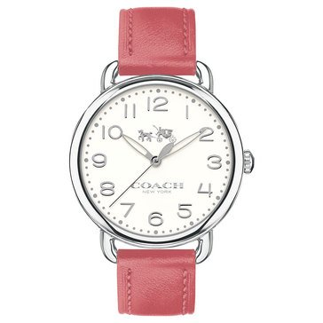 Coach Women's Delancey Watch, Chalk/ Peony Leather 36mm