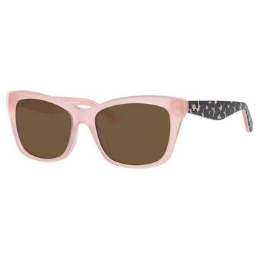 Kate Spade Women's Jenae Pink and Black Frame Brown Polarized Lens Sunglasses 53mm
