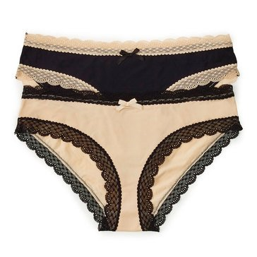 Flora 2 Pack Hipster Micro with Lace Nude/ Black