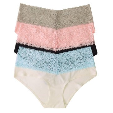Flora 3 Pack High Cut Boyhipster with Lace Ivory/ Black/ Pink