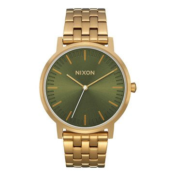 Nixon Unisex Porter Olive Sunray/All Gold Watch, 40mm