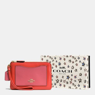 Coach Box Colorblock Small Wristlet Deep Coral Peony