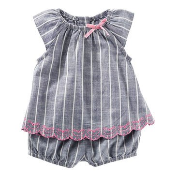 OshKosh Baby Girls' Striped Chambray Trim Set