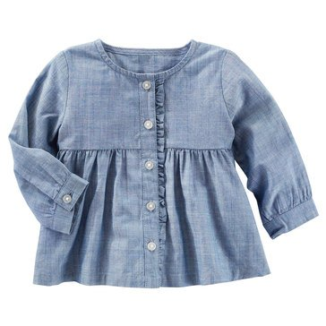OshKosh Baby Girls' Chambray Ruffle Top
