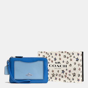 Coach Box Colorblock Sml Wristlet Lapis Cornflower
