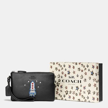Coach Box Embossed Small Wristlet Black