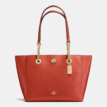 Coach Pebble Turnlock Chain Tote 27 Terracotta