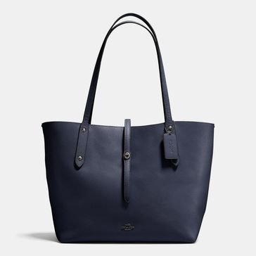 Coach Polished Pebble Market Tote Navy Teal