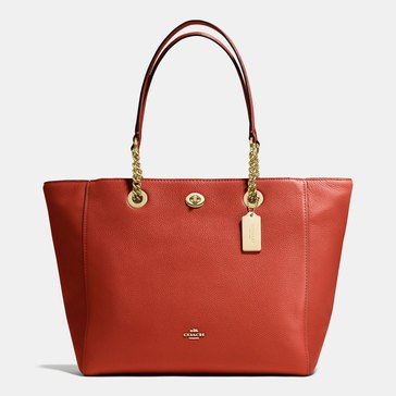 Coach Pebble Tunlock Chain Tote Terracotta