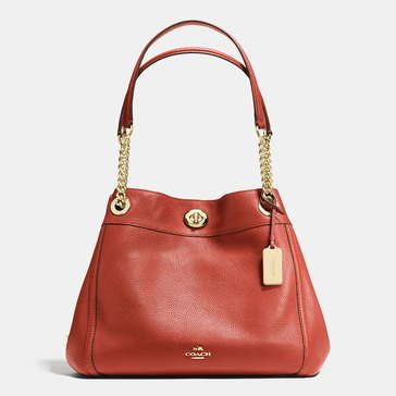 Coach Polished Pebble Turnlock Edie Hobo Terracotta