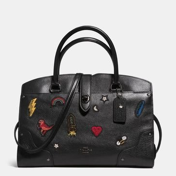 Coach Souvenir Embroidery Mercer 30 Satchel Black