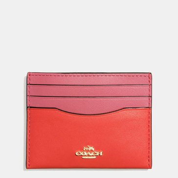Coach Box Colorblock Flat Card Case Coral Peony