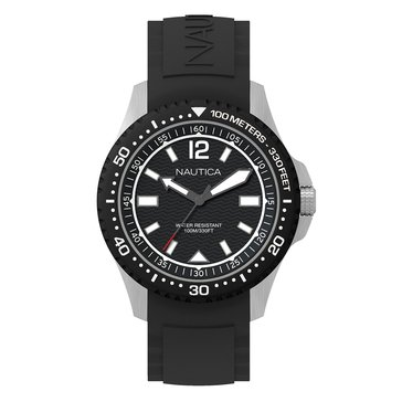 Nautica Men's Bracelet Silver Case Top Ring Black Dial Date Silicone Strap Watch 44mm