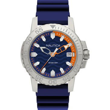 Nautica Men's Silver/Navy Dial with Navy Silicone Strap Watch, 45mm
