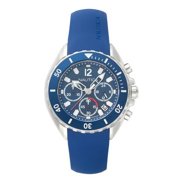 Nautica Men's Chronograph Silver/Navy Dial with Navy Silicone Strap Watch, 47mm