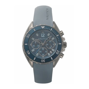 Nautica Men's Bracelet IP Gun Case Blue Top Ring Blue Dial Chronograph Grey Silicone Watch 47mm