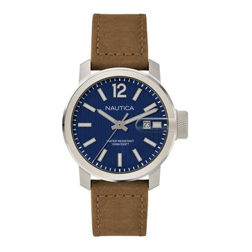 Nautica Men's Silver/Navy Dial withTan Leather Strap Watch, 44mm