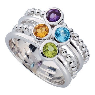 Multi Row Bead Ring, Sterling Silver