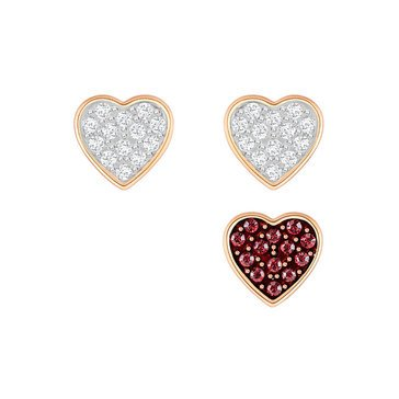 Swarovski Rose Gold Plated Wishes Heart Earrings Set