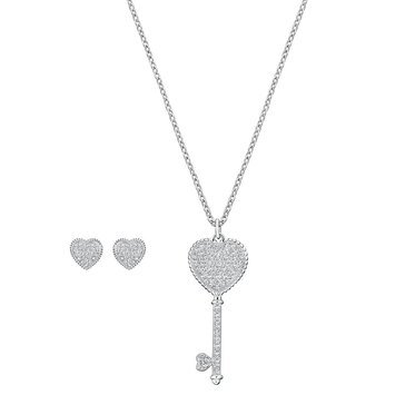 Swarovski Rhodium Plated Engaged Earring and Necklace Set