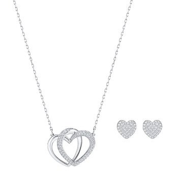 Swarovski Rhodium Plated Dear Earring and Necklace Set